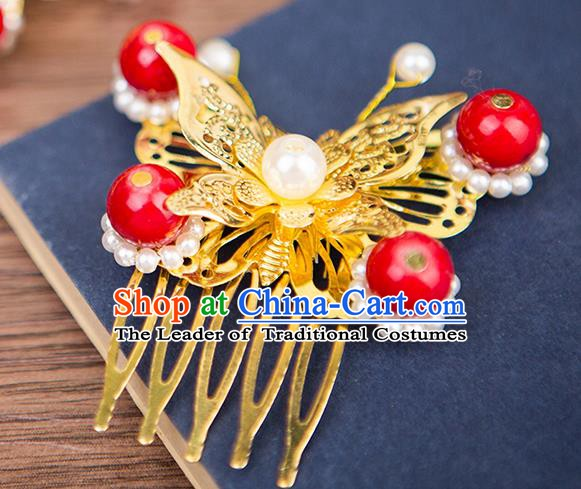 Handmade Chinese Ancient Palace Lady Hair Accessories Hanfu Red Beads Butterfly Hair Comb for Women