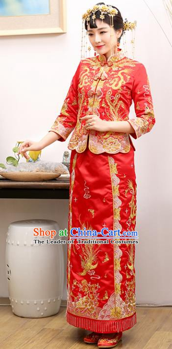 Traditional Ancient Chinese Costume Xiuhe Suits Wedding Red Embroidered Dragon and Phoenix Toast Cheongsam for Women