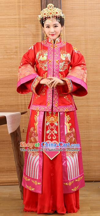 Traditional Ancient Chinese Costume Xiuhe Suits Wedding Dress Embroidered Red Toast Clothing for Women