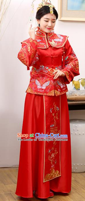 Traditional Ancient Chinese Costume Xiuhe Suits Wedding Bride Embroidered Red Toast Clothing for Women