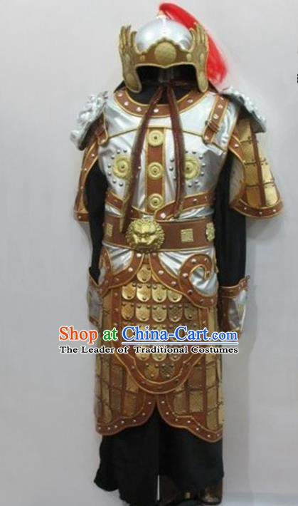 Traditional Ancient Chinese General Helmet and Armour Clothing for Men