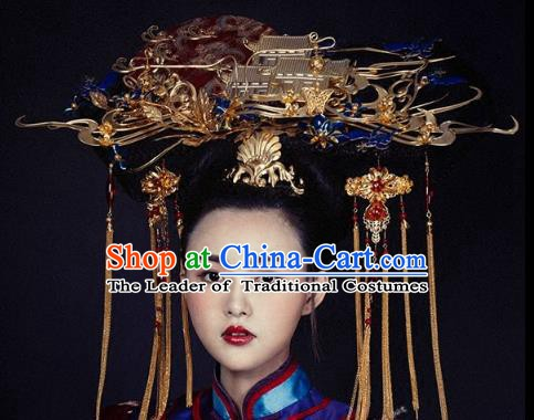 Chinese Handmade Classical Hair Accessories Qing Dynasty Headdress Phoenix Coronet Ancient Hanfu Hairpins for Women