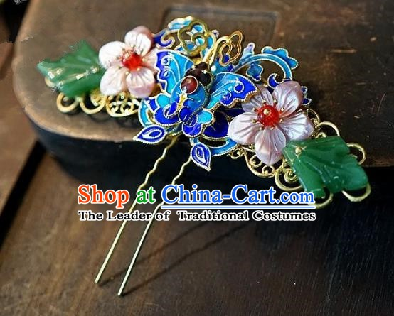 Chinese Handmade Classical Hair Accessories Ancient Hanfu Cloisonne Hairpins Hair Clip for Women