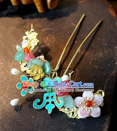 Chinese Handmade Classical Hair Accessories Ancient Hanfu Hairpins Jade Flower Hair Clip for Women