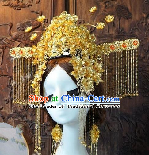 Chinese Handmade Classical Hair Accessories Ancient Hanfu Hairpins Queen Phoenix Coronet for Women