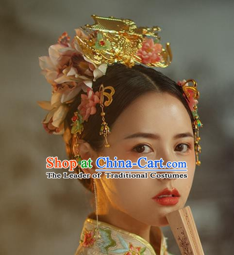 Chinese Handmade Classical Hair Accessories Ancient Hanfu Hairpins Bride Phoenix Coronet Complete Set for Women