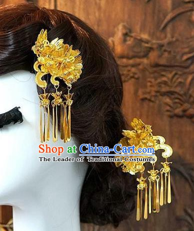 Chinese Handmade Classical Hair Accessories Ancient Hanfu Tassel Hairpins Bride Golden Step Shake for Women