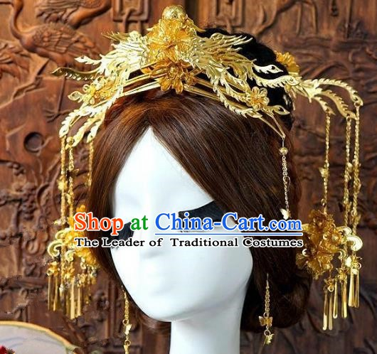 Chinese Handmade Classical Wedding Hair Accessories Ancient Hanfu Golden Hairpins Bride Phoenix Coronet for Women