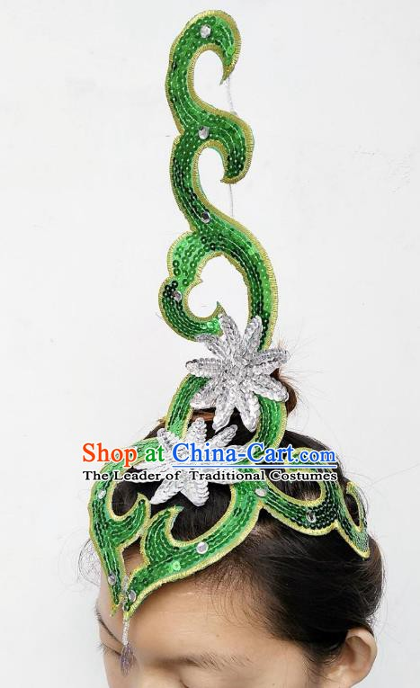 Chinese Classical Dance Yangge Folk Fan Dance Hair Accessories Yangko Green Paillette Headwear for Women