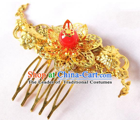 Handmade Asian Chinese Ancient Palace Lady Hair Accessories Hanfu Golden Hair Comb for Women