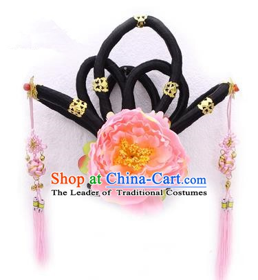 Handmade Asian Chinese Ancient Imperial Concubine Hair Accessories Wig and Hairpins for Kids
