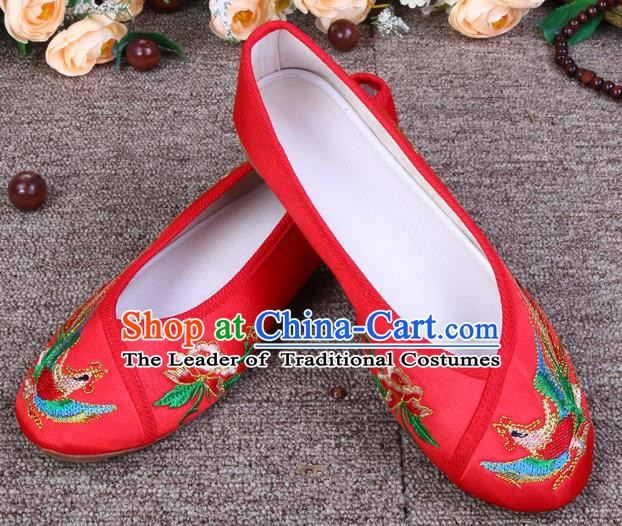 Asian Chinese Wedding Bride Shoes Embroidered Shoes, Traditional China Red Hanfu Shoes for Women