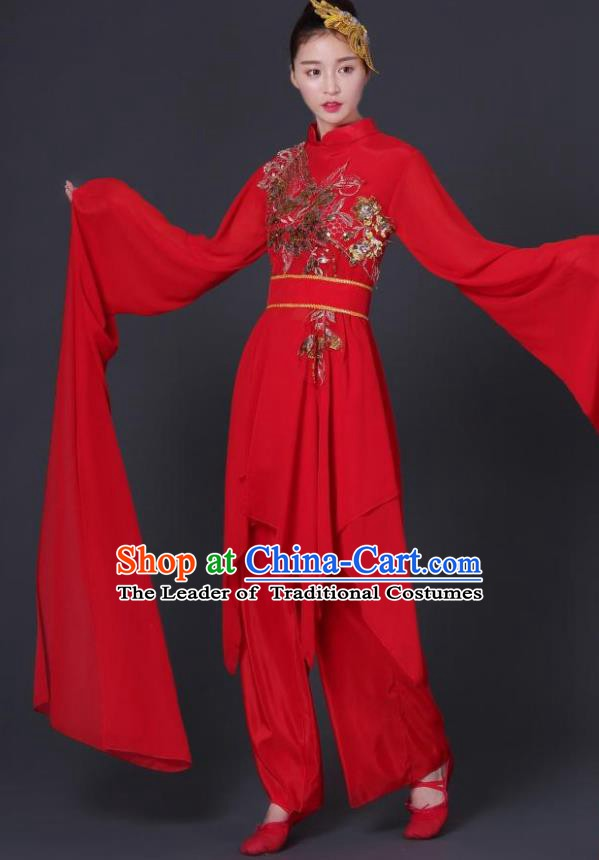 Traditional Chinese Yangge Fan Dancing Costume Classical Dance Modern Dance Dress Clothing Headwear