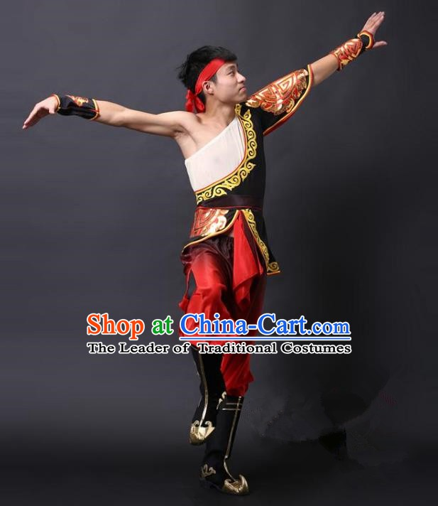 Traditional Chinese Waist Drum Dance Costume, China Folk Dance Yangko Clothing for Men