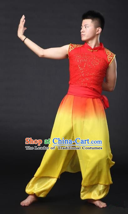 Traditional Chinese Waist Drum Dance Yellow Costume, China Folk Dance Yangko Clothing for Men