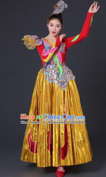 Traditional Chinese Waist Drum Dance Costume, China Classical Folk Dance Yangko Dress for Women