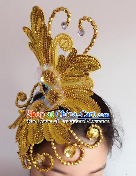Chinese Classical Yangge Folk Fan Dance Hair Accessories Yangko Golden Paillette Headwear for Women
