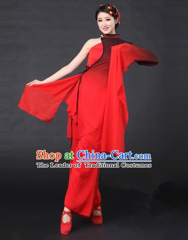 Traditional Chinese Classical Yangge Dance Costume, China Folk Dance Red Sleeve Clothing for Women