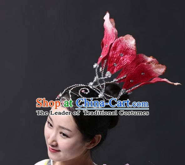 Chinese Classical Yangge Folk Fan Dance Hair Accessories Yangko Red Lotus Headwear for Women