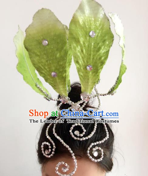 Chinese Classical Yangge Folk Fan Dance Hair Accessories Yangko Green Lotus Headwear for Women