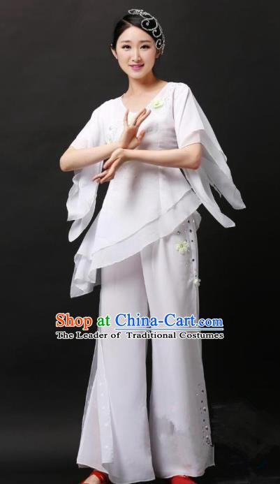 Traditional Chinese Yangge Folk Dance Costume, China Yanko Dance White Clothing for Women
