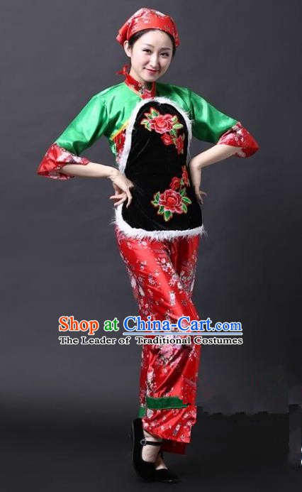 Traditional Chinese Yangge Folk Drum Dance Costume, China Yanko Dance Green Clothing for Women