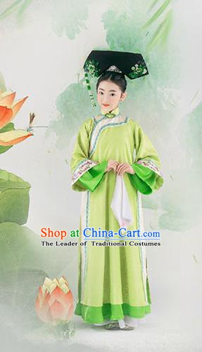 China Ancient Qing Dynasty Palace Lady Costume Traditional Manchu Princess Cheongsam Clothing for Kids