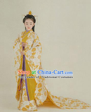 China Ancient Han Dynasty Palace Lady Costume Traditional Princess Hanfu Trailing Dress for Kids