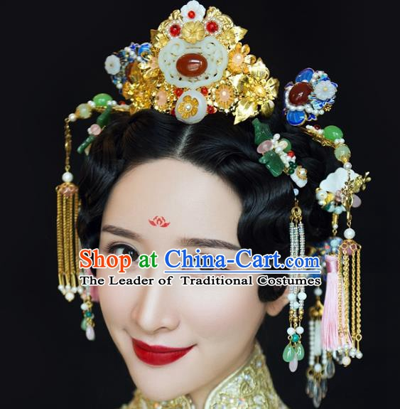 Chinese Handmade Classical Hairpins Ancient Wedding Jade Phoenix Coronet Headdress Complete Set for Women