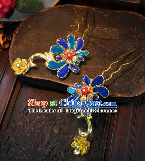 Chinese Handmade Classical Hair Accessories Ancient Wedding Headdress Blueing Lotus Hairpins for Women