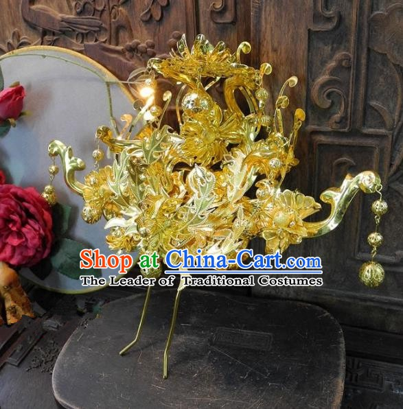 Chinese Handmade Classical Golden Phoenix Coronet Ancient Hanfu Wedding Hair Accessories for Women