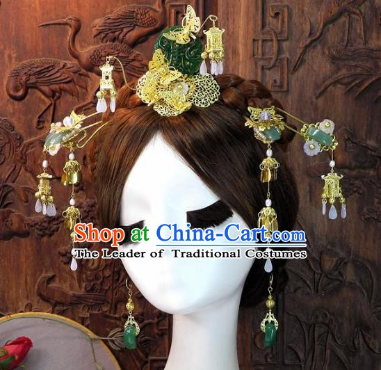 Chinese Handmade Classical Wedding Hair Accessories Ancient Bride Jade Hairpins Complete Set for Women