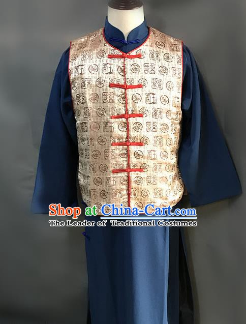 Traditional Chinese Stage Performance Costume Ancient Qing Dynasty Manchu Landlord Yellow Clothing for Men