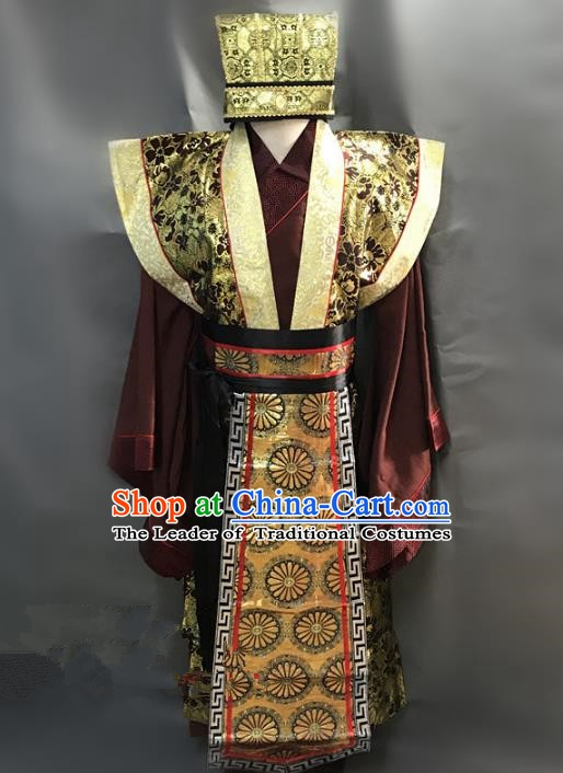 Traditional Chinese Stage Performance Costume Ancient Han Dynasty Minister Clothing for Men