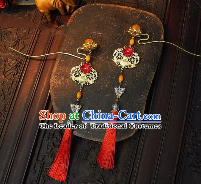 Chinese Handmade Classical Wedding Hair Accessories Ancient Hanfu Step Shake Tassel Hairpins for Women