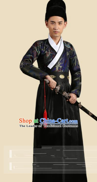 Traditional China Ancient Song Dynasty Imperial Bodyguard Costume Swordsman Black Robe Clothing for Men