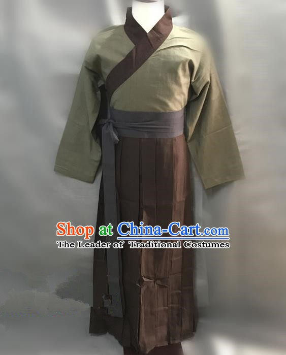 Traditional Chinese Stage Performance Costume Ancient Song Dynasty Husbandman Swordsman Clothing for Men