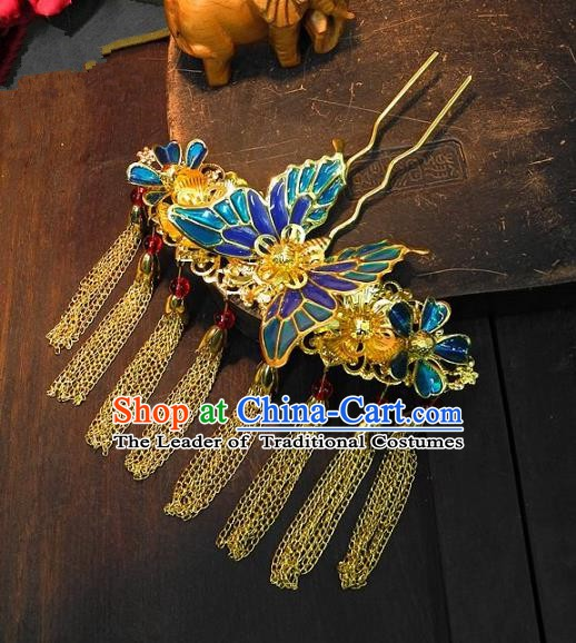Chinese Handmade Classical Wedding Hair Accessories Ancient Hanfu Hairpins Tassel Butterfly Step Shake for Women