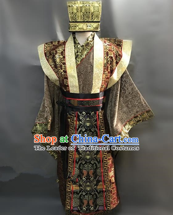 Traditional Chinese Stage Performance Costume Ancient Three Kingdoms Period Minister Clothing for Men