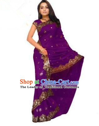 Traditional Asian India Stage Performance Costume Hindustan Indian National Purple Dress Clothing for Women