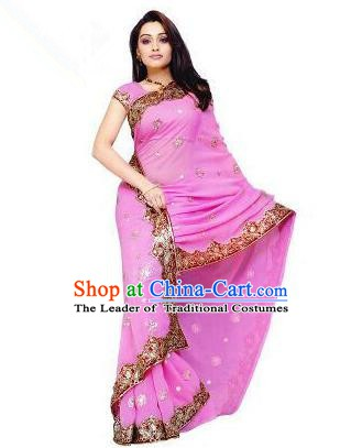 Traditional Asian India Stage Performance Costume Hindustan Indian National Pink Dress Clothing for Women