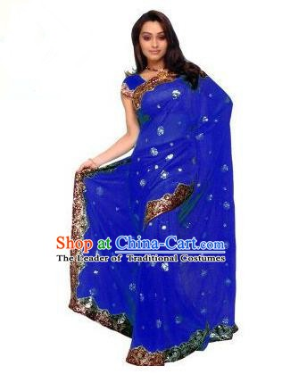 Traditional Asian India Stage Performance Costume Hindustan Indian National Royalblue Dress Clothing for Women