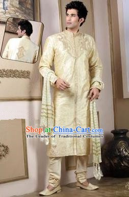 Traditional Asian India Stage Performance Golden Costume Hindustan Indian Prince National Clothing for Men