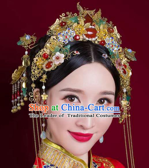 Chinese Handmade Classical Wedding Hair Accessories Ancient Hanfu Bride Phoenix Coronet Complete Set for Women