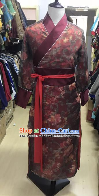 Traditional Chinese Stage Performance Costume Ancient Ming Dynasty Swordsman Red Robe for Men