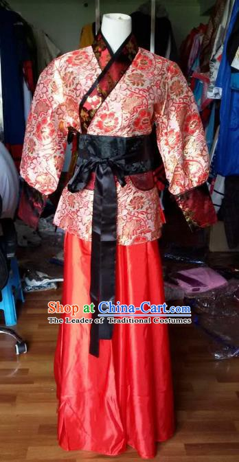 Traditional China Ancient Han Dynasty Royal Princess Costume Red Hanfu Curving-front Robe for Women