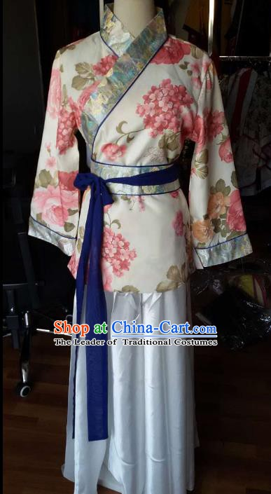 Traditional China Ancient Han Dynasty Royal Princess Costume Printing Hanfu Curving-front Robe for Women