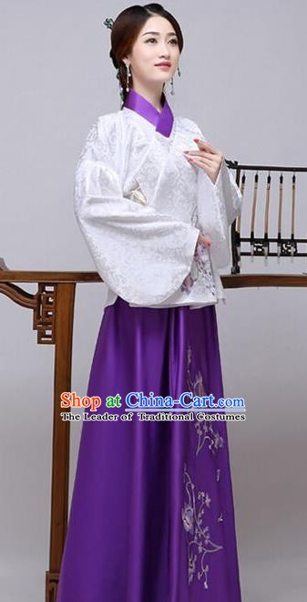 Traditional China Ancient Ming Dynasty Princess Costume Hanfu White Blouse and Purple Skirt for Women