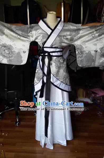 Traditional China Ancient Han Dynasty Princess Costume Hanfu Curving-front Robe for Women
