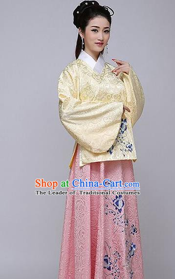Traditional China Ancient Ming Dynasty Princess Costume Hanfu Yellow Blouse and Pink Skirt for Women